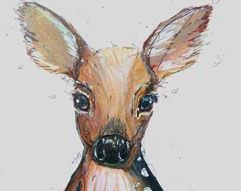 Art-Print, Druck, Kunst, Illustration, decor, print, animal, cute, watercolour, stilwald, wall art poster, home, bambi, rehkiz, vintage