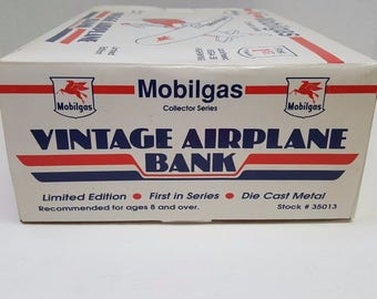 Mobilgas Collector Series Diecast Metal Vintage Airplane Bank Replica