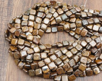 "Bronzite 12mm puff square beads approx. 16"" strand or 7"" strand"