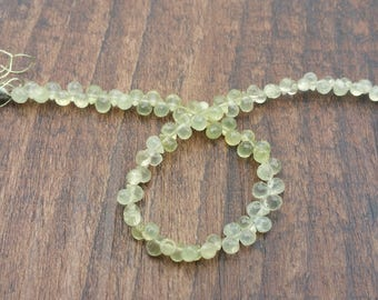"Prehnite faceted briolette teardrop beads 3"" strand - variegated colors - loose beads"