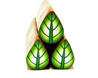 Polymer clay leaf cane: Raw polymer clay cane - Millefiori cane supplies - Green leaf cane - Supplies for jewelers