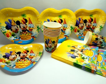 SALE! Mickey Mouse paper tableware. Paper plates, cups, napkins for children's holiday. Set for children's holiday, party or birthday.