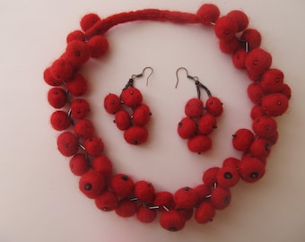 Necklace made of felted wool,gift .Necklace for Annie. Designer set of 2 pieces.Earrings jewelry.