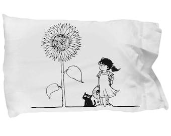 Sunflower Girl Pillow Case