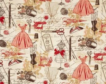 Timeless Treasures Vintage Sewing Red