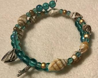 Beach themed memory wire bracelet