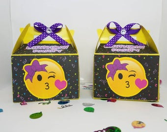Boxes of Emoji, sweets, birthday, party decoration