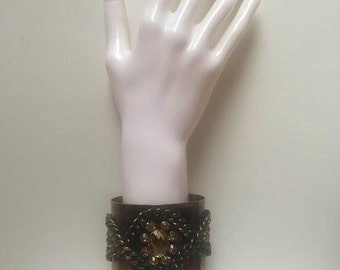 Bronze bling tarnished effect gold chains adjustable rhinestones trending fashion cuff bracelet.