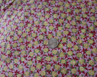 24 Aunt Lindy's Paper Doll Fabric Pink with yellow roses