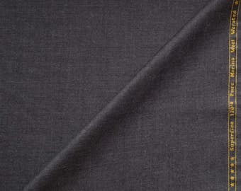 120s Pure Merino Wool Worsted, BRUUNS BAZAAR COPENHAGEN Suiting Fabric Medium Gray 3.5m