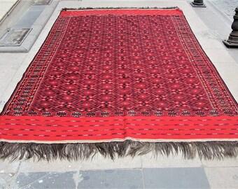 Kilim,turkoman kilim embrodery,large rug kilim,vintage kilim,355x205cm,11.7 x 6,8 ft Kilim rug, boho kilim rug, home decor,turkish kilim rug