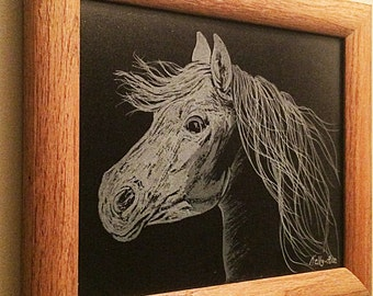Custom etched glass horse