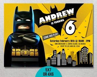 Lego Batman Invitation, Lego Batman Birthday, Lego Batman Party, Lego Invite, Batman Movie Invites, Printable Invitations, Movie Printables