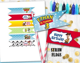 Toy Story Straw flags Cupcake cake toppers Birthday decoration Party prints