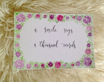 A smile says a thousand words || encouraging calligraphy