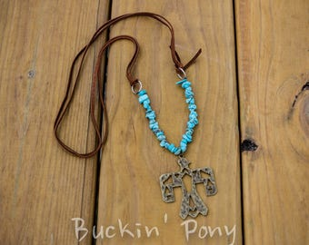 Long leather western necklace with turquoise and metal thunder bird boho/western/gypsy