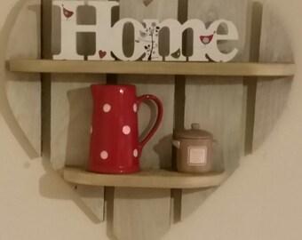 Rustic Wooden Heart Shelves