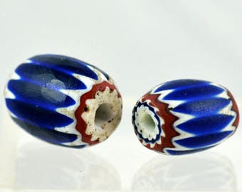 Pair of Antique Venetian Chevron Beads - Vintage African Trade Bead - #7731