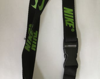 Nike Black And  Green Key Workpass Lanyard