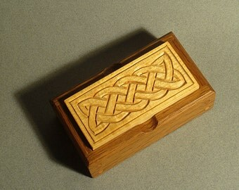Carved Wood Jewelry Box, Fluted Celtic Pattern
