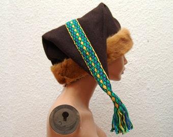 CAP, medieval, Viking, RUS, plate trims, fur real, Gr. 62, wool, linen