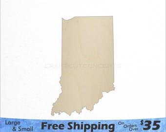 Indiana ID State Cutout - Large & Small - Pick Size - Laser Cut Unfinished Wood