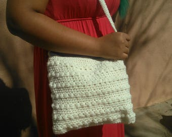 Crocheted handbag crochet purse cream or olive