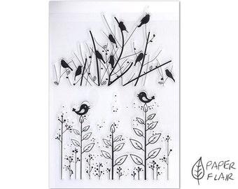 2 clear stamps birds flowers plants (AP-C7)