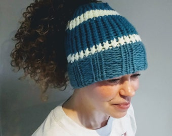 Messy Bun or Ponytail Knitted Topless Hat