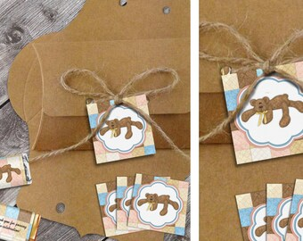 Bear Necessities - Baby Shower Printable Favor Tags - Instant Download