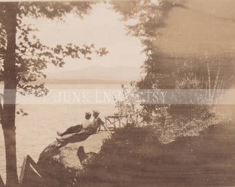 Antique Photograph . Lakeside Landscape . Friends Lounging on a Rock . Summertime . Digital Download . High Resolution Scan