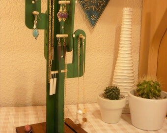 Wooden cactus for hanging jewelry