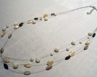 Mother of pearl multistrand floating necklace