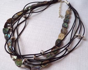 Mother of pearl and leather strap necklace