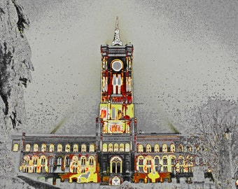 """limited artistic Photography """"The red town hall"""" Berlin by Thomas de Bur Germany 100% cotton canvas gallery photograph certificate"""