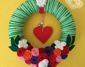 Wreath with Roses R - Door decoration - Felt - Parfumed Little chalks