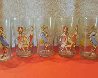 Set Of Five Bar Glasses With Recipes Lime Bacardi Cranberry Metropolitan