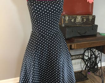 Vintage Mariposa Black Tube Top Rockabilly Retro Style Polka Dot Dress with Tulle Skirt Lining