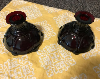 Vintage Ruby Red Glass  Candle Stick Holders