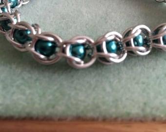 Chain mail bracelet, Swarovski pearl beads