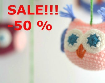 spring sale SALE!!! -50% Owls Lullaby Nursery Decor Mobile