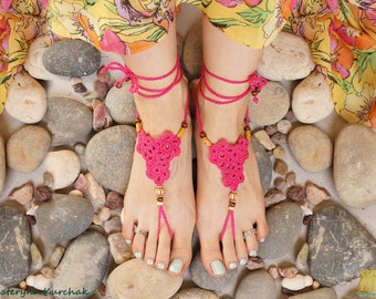 Barefoot sandals Beach party Foot accessory Crochet foot decoration Footless sandals Hot pink
