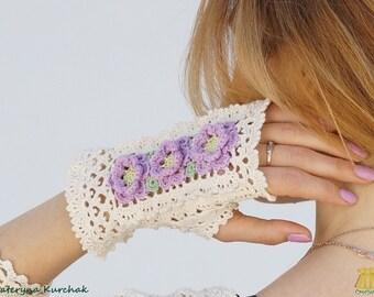 Fingerless gloves Crochet Bohemian accessories Romantic mittens Weddings gloves Victorian Lilac flowers