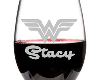 Wonder Woman , Wine Glass, Stemless Wine Glass, Personalized