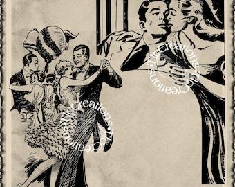 New Love 2. Vintage Image Transfer, Graphi