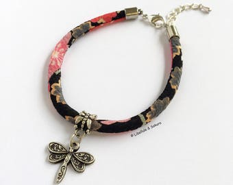 Pink black Japanese chirimen cord and Dragonfly charm bracelet