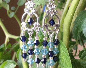 Blue Chandelier Earrings Swarovski Crystals Sterling Silver