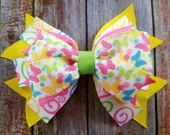 Butterfly Bow, Bright Color Bow, Summer Bow, Butterflies