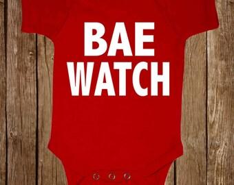 "Baby Black onesie "" BAE WATCH "" funny New Born to 24 month humor tee Bodysuits"