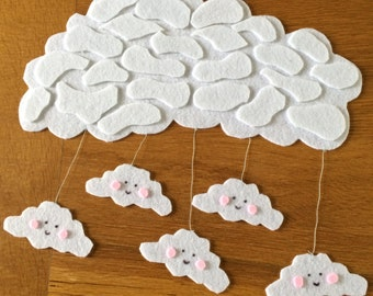 Mobile cloud in white felt